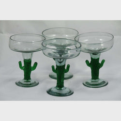 Vintage Green Rim Mexican Margarita Cactus Glasses, Set of 4