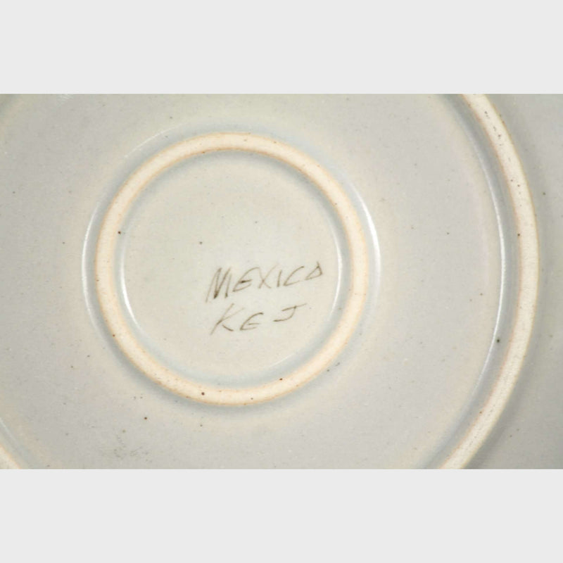 Vintage Ken Edwards Ceramic Cup/Saucer Hand Painted Initialed Folk Art