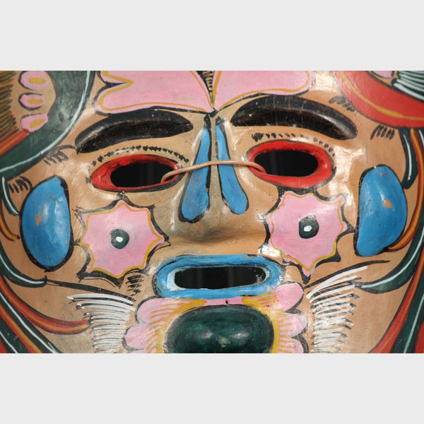 Vintage Mexican Ceramic Hanging Mask Red/Green Birds