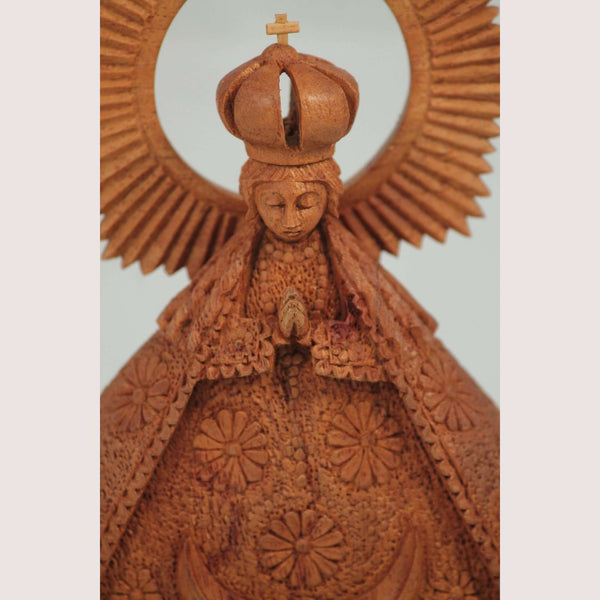 "Wood Madonna ""Virgin de La Salud"" Hand Tooled/Carved Mexico Religious"