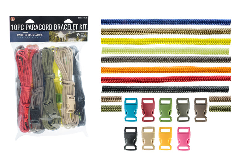 10pc Paracord Bracelet Kit Assorted Colors
