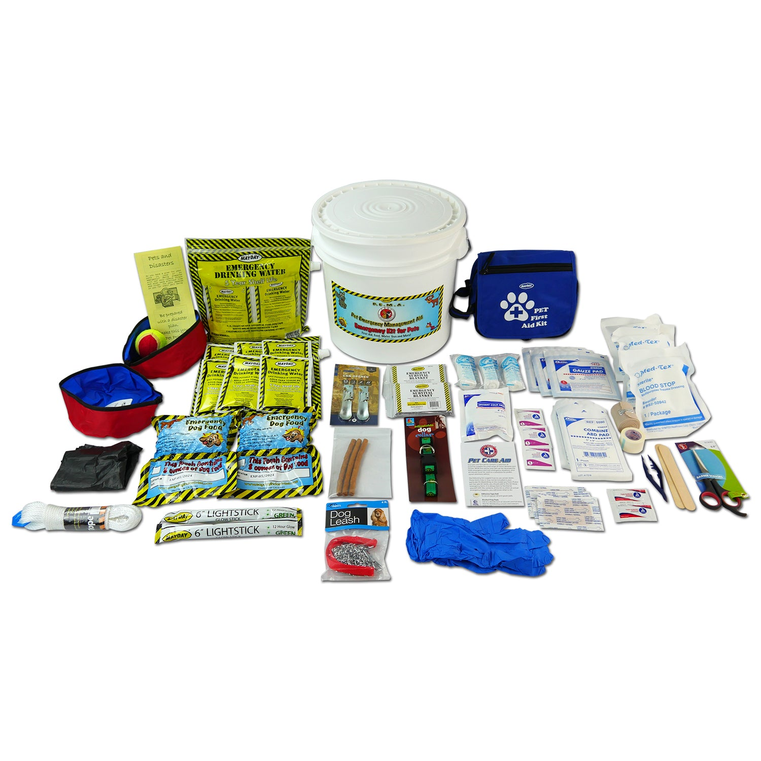 EMERGENCY DOG KIT WITH FIRST AID, FOOD, WATER, TOYS AND MORE 5 YEAR SHELF LIFE