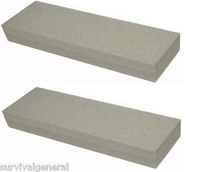 "(2) 8"" Aluminium Oxide Sharpening Stone 120 240 Grit Knife Sharpener Whetstone"