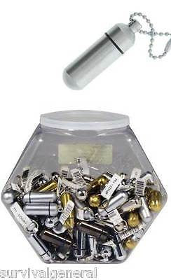 (10) Assorted Brass ID Pill Holders Metal Vial Hidden Compact Storage Key Chain