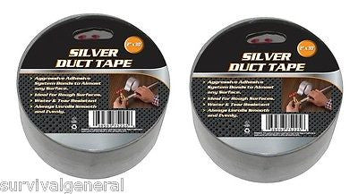 "(2) Silver Duct Tape 2""x30' Weather & Water Resistant Camping Survival Emergency"