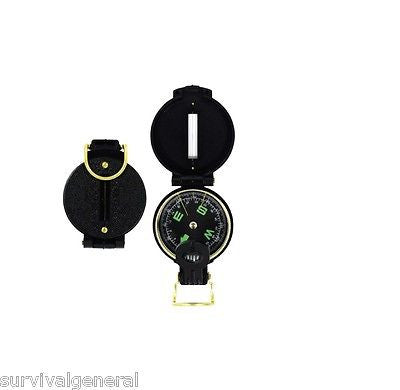 "(2) Black Military Style Lensatic Compass Survival Prepper Gear Map 2"" Camping"
