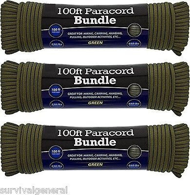(3) 550 Paracord 100' Parachute 7 Cord Strand OD Green Rope Survival Outdoor 300