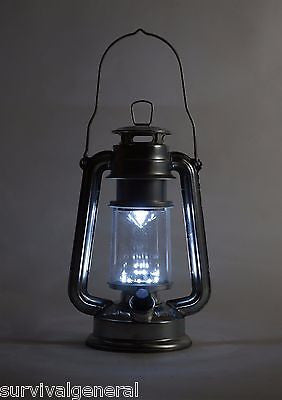 "9.5"" Silver Metal Hurricane Lantern Camping Survival Emergencies Disaster 15 LED"