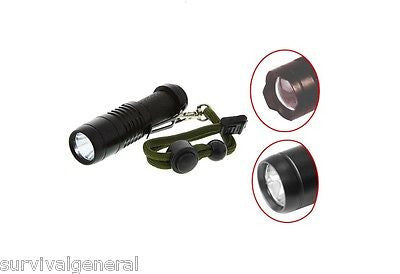 (2) 3 Watt Cree XPE 140 Lumen Flashlight Survival Kit Black Flashlight Camping