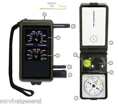 10 in 1 Camping Survival Tool Compass Fire Starter Mirror Light Hygrometer Therm
