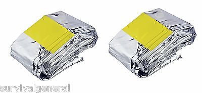 (2) Emergency Sleeping Bag  Blanket 84 x 36 Hunting Survival Camping BOB Kit