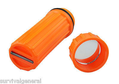 (10)3-In-1 Waterproof Storage Matches Box Orange Signal Mirror Striker Container