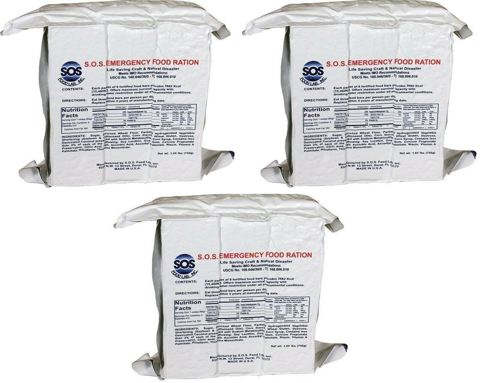 (3)SOS Rations EMERGENCY Earthquake 3600 Calorie Food Bar Survival 3 Day 72 Hour