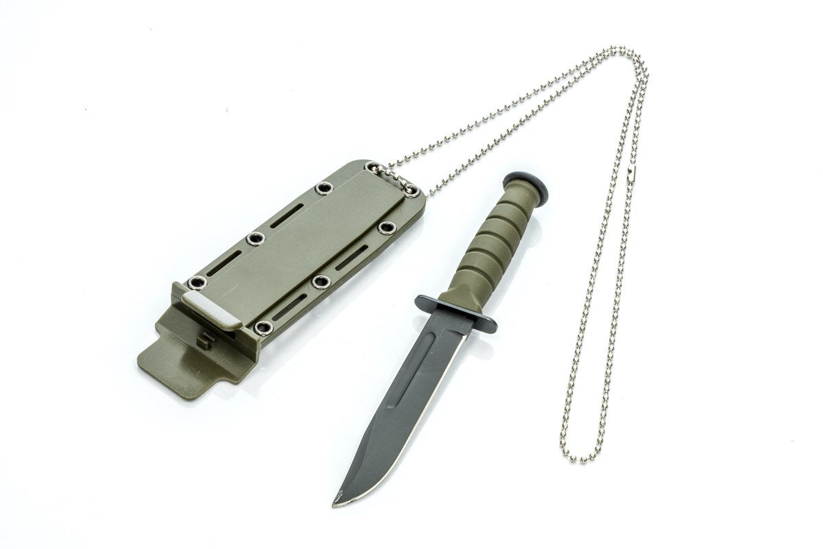 "6"" Clip Point Black Blade with Green Sheath Neck Knife"