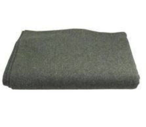 "Military Style Wool Blanket OD Green 60""x80"" Outdoor Camping Emergency Large NEW"