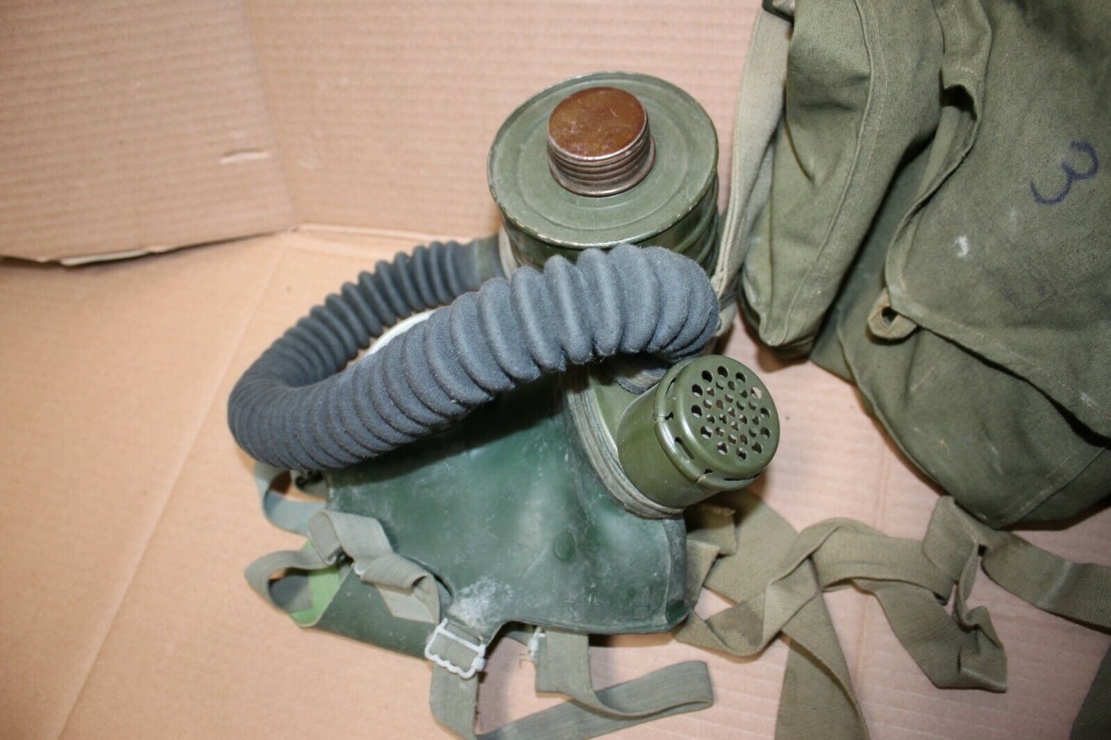 Surplus Soviet Gas Mask GP4 Civilian NBC Protection Filter Case Russian Military