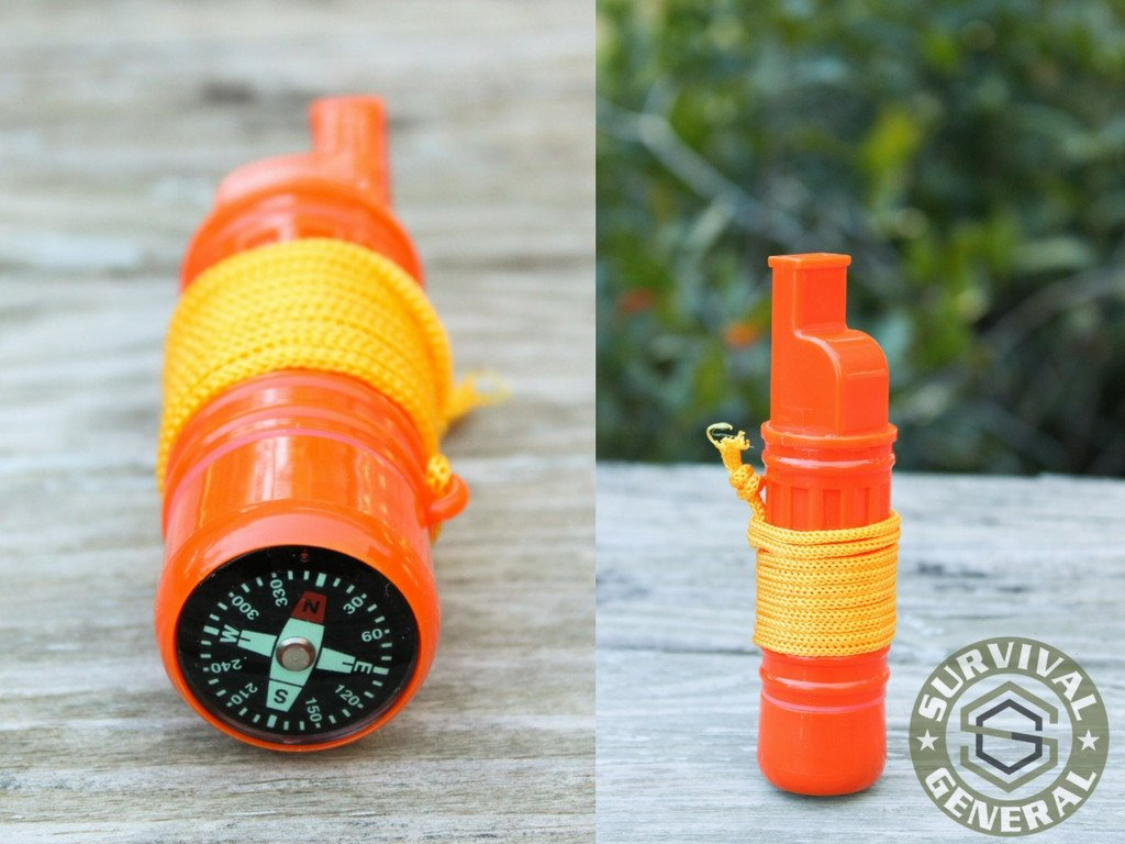5 in 1 Survival Whistle with Compass Mirror Multi-Purpose Tool