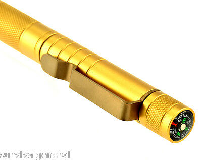 Gold 5-in-1 Compact Survival Tool Compass Punch Flint Striker Whistle Stainless