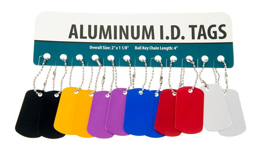 12 Blank Aluminum Dog Tags Gold Silver Red Purple Blue Black Pets Name ID Army
