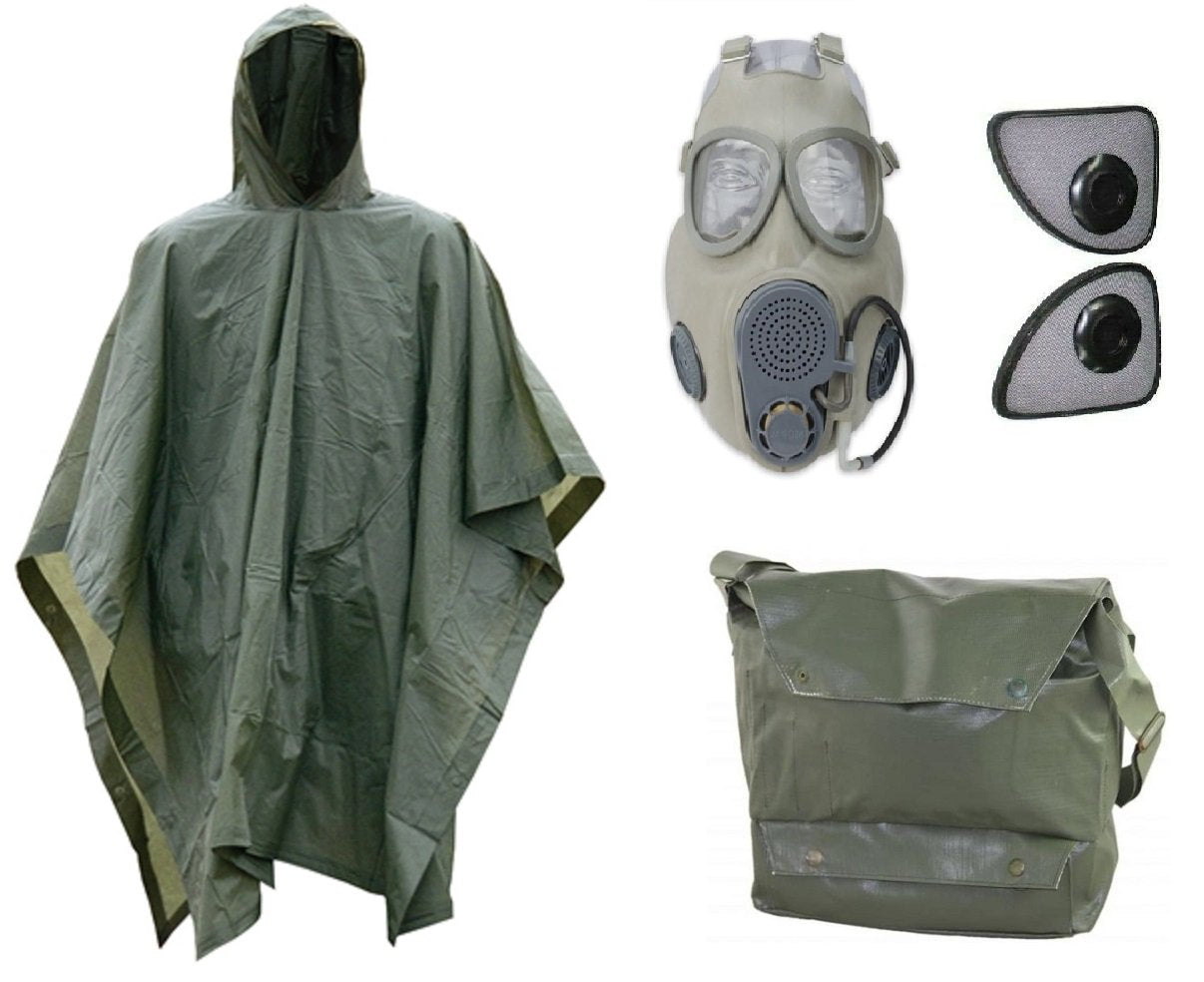 Halloween Costume Kit: Be Ready Zombie Apocalypse with Military Gas Mask M10M, Vinyl Gas Mask Bag, and OD Green Poncho Cape.