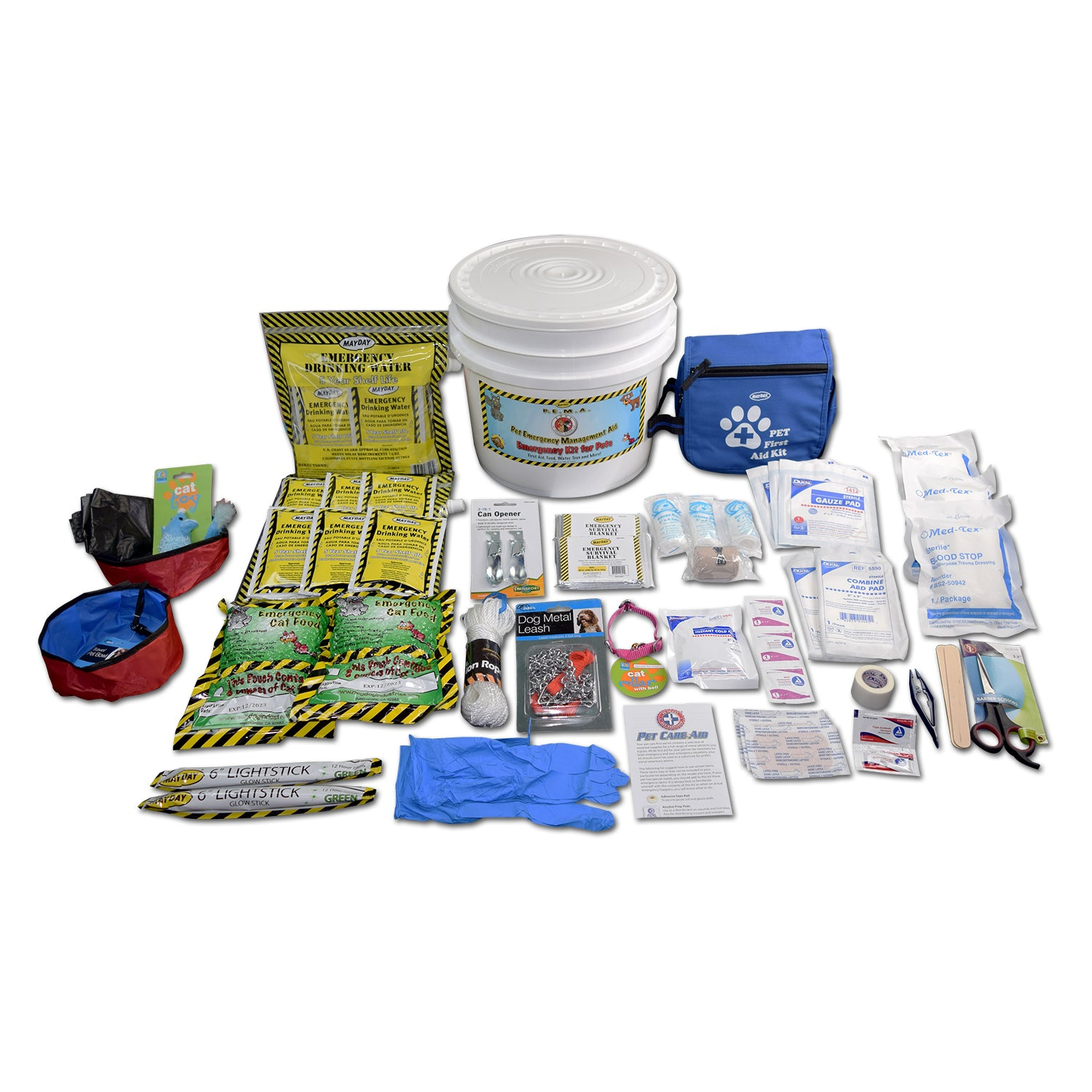 EMERGENCY CAT KIT WITH FIRST AID, FOOD, WATER, TOYS AND MORE 5 YEAR SHELF LIFE
