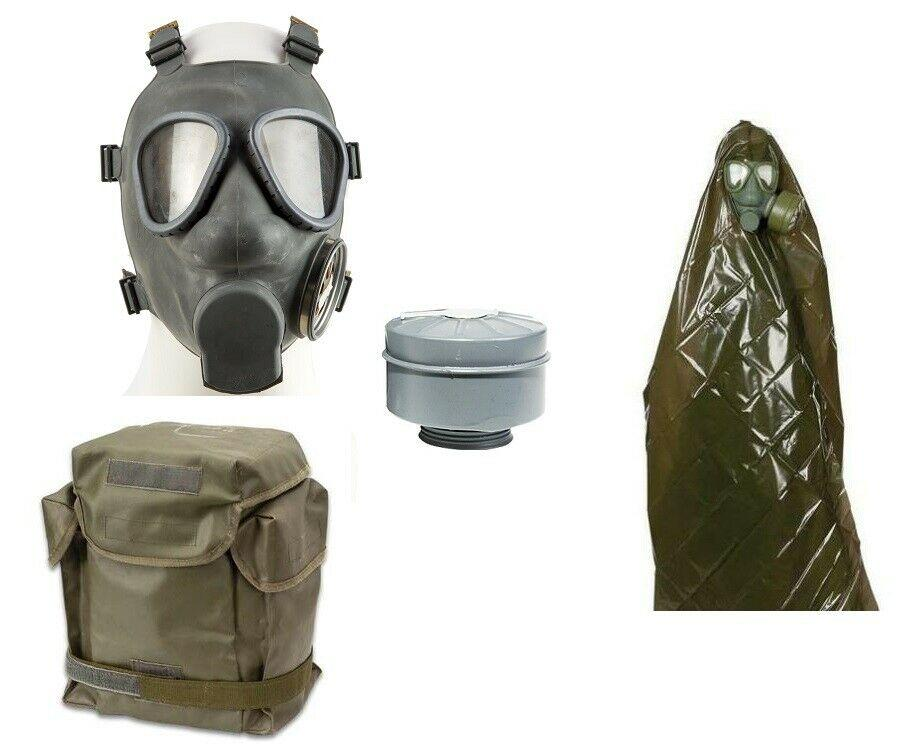 Doomsday Prepper Halloween Costume Kit Gas Mask, NBC Green Poncho, MP5 gas mask bag