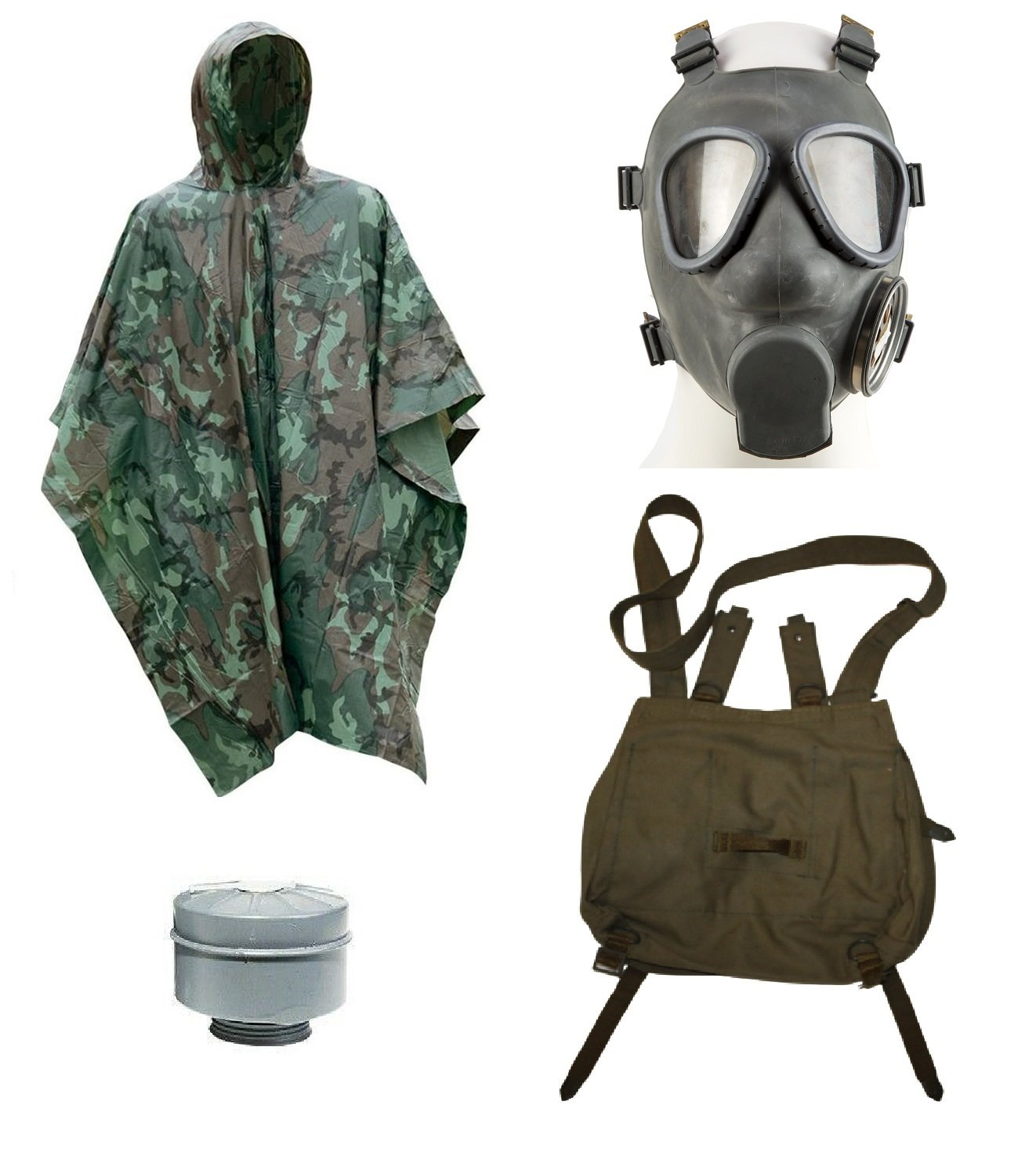 End of the world Halloween Costume Kit Military Gas Mask, Camo Poncho, gas mask filter, and canvas OD green gas mask bag