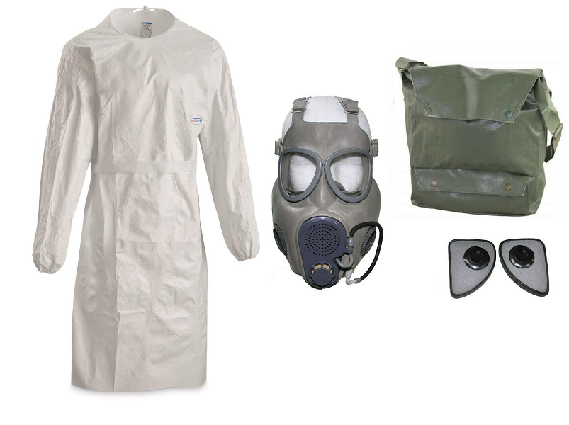 Survival General Halloween Costume Mad Scientist Gas Mask, Filter, White Lab Coat NBC