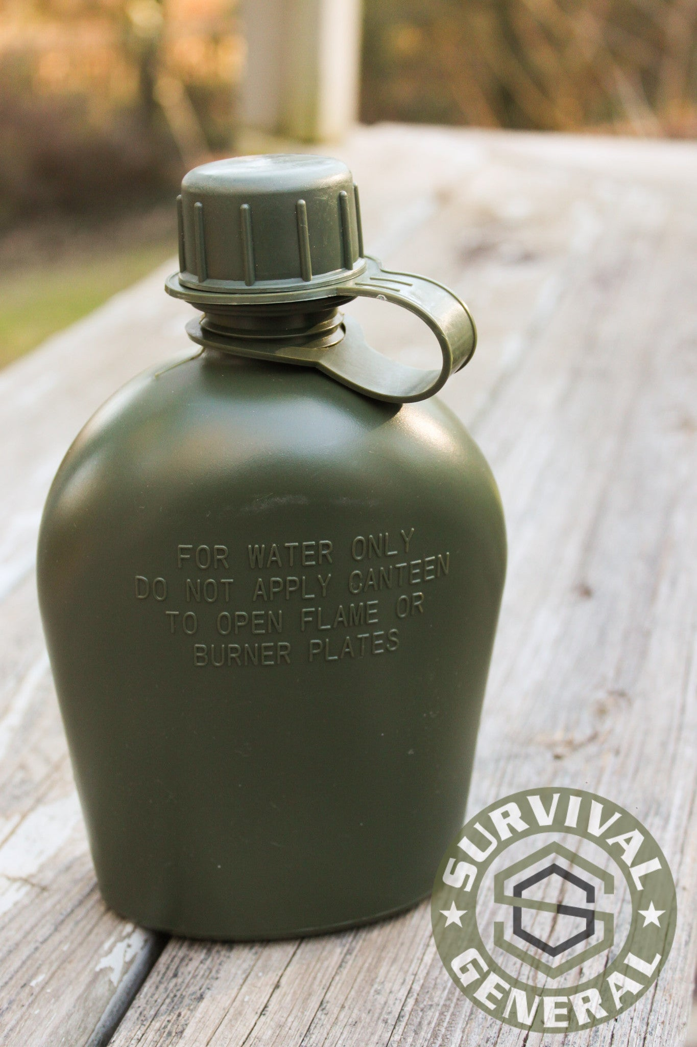 Military OD Green or Solid Black Plastic Water Canteen 1 Quart BPA Free