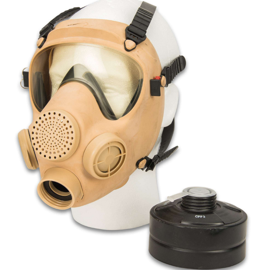 LARGE Polish Military Gas Mask with 40mm NATO Tan
