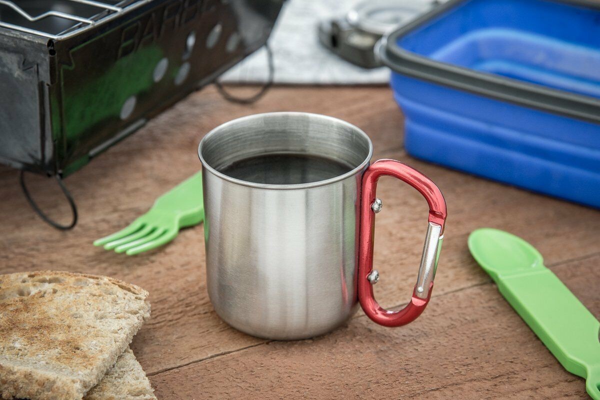 (2) Travel Mug Stainless Steel Carabiner Camping Cup Outdoor 10 oz Hiking Camp