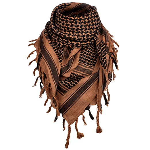 Survival General 100% Cotton Shemagh Tactical Military Scarf Wrap (Brown/Black)