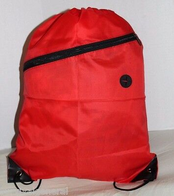 Drawstring Red Children's Gym Tote Bag School Sport Pack Survival Backpack Sack