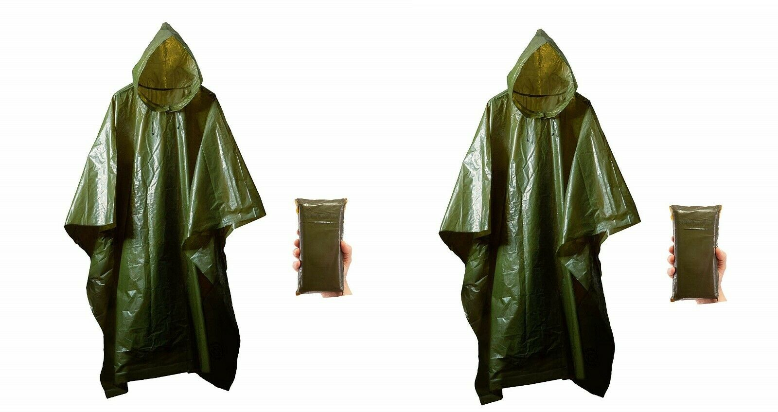 (2) Survival General Lightweight Rain Gear Poncho Emergency Tent Cover Shelter