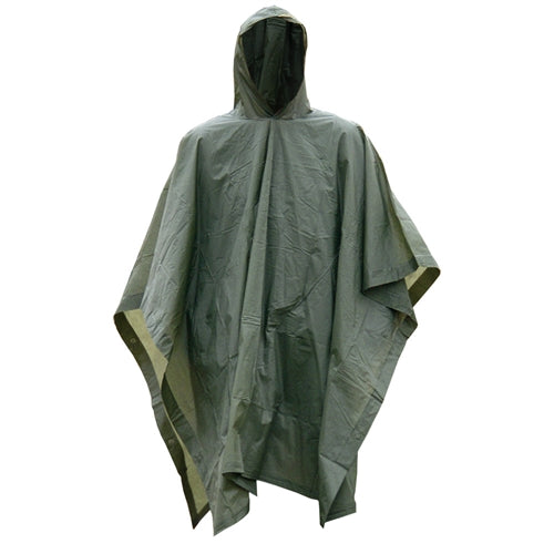 OD Green Vinyl Wet Weather Rain Poncho Military Style Tarp Shelter Bivy Tent NEW