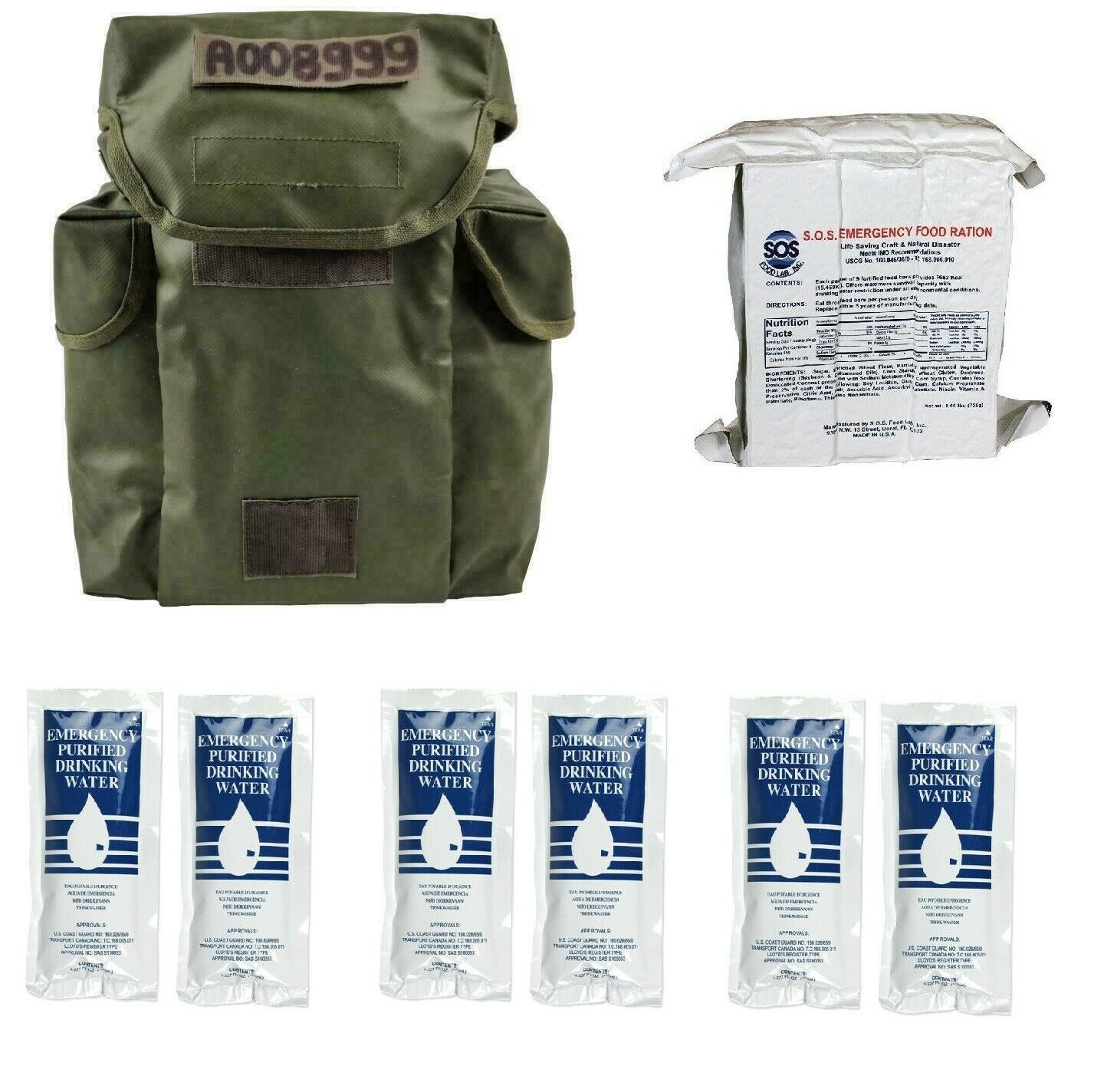3 Day Emergency Survival Kit Food Water Military Bag Earthquake Hurricane Fire