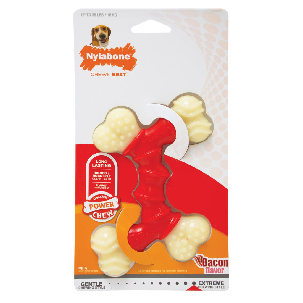 Nylabone Power Chew Double Bone Bacon Chew Toy Wolf