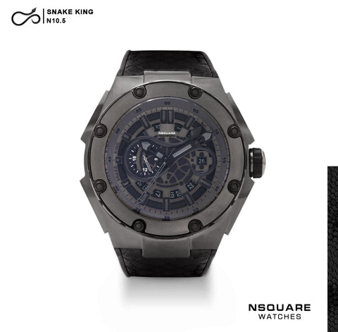 NSQUARE SnakeKing Automatic Watch-46mm N10.5 Gun Metal/Black|NSQUARE 蛇皇系列 自動錶-46毫米  N10.5 槍/黒