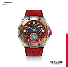 NSQUARE NM01-TOURBILLON Watch - 46mm  N35.1 SS/RG/Red|NM01-陀飛輪 46毫米  N35.1 不銹鋼/玫瑰金/紅