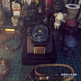 NSQUARE PirateStorm Automatic Watch - 48mm N15.5 Black/Vachetta Tan|海盜風暴 自動錶 - 48mm N15.5 黑色/棕褐色
