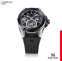 NSQUARE DYNAMIC RACE TOURBILLON WATCH 46MM N33.1 STEEL/CERMAIC BLACK LIMITED EDITION|NSQUARE DYNAMIC RACE陀飛輪46毫米 N33.1 鋼/黑陶瓷 限量版