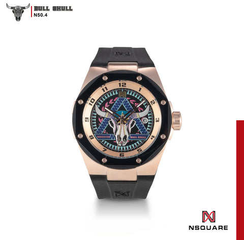 NSQUARE The Bull Skull Automatic Watch N50.4 RG/Black|NSQUARE 牛骷髏系列自動錶 N50.4 玫瑰色/黑色