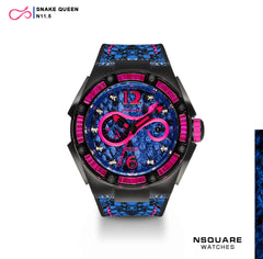 NSQUARE SnakeQueen Automatic Watch-46mm  N11.5 ShockPink/RoyalBlue|蛇后系列 自動錶-46毫米 N11.5 螢光粉紅色/寶藍色