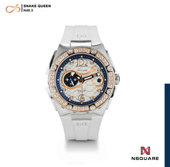 NSQUARE SnakeQueen39mm Automatic Watch- N48.3 RG/White|NSQUARE 蛇后39毫米系列 自動錶. N48.3玫瑰金色/白色