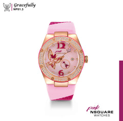 NSQUARE PINK Gracefully Automatic Watch-40mm  NP 01.3|NSQUARE PINK 蝴蝶系列 自動錶-40毫米  NP 01.3