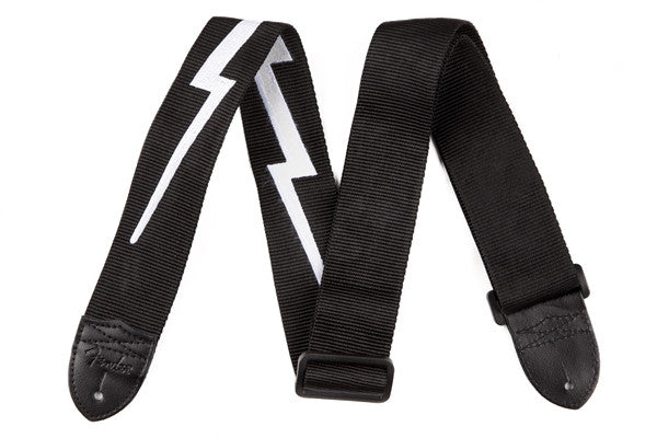 "Fender® 2.5"" Nylon Lightning Bolt Strap, Black"