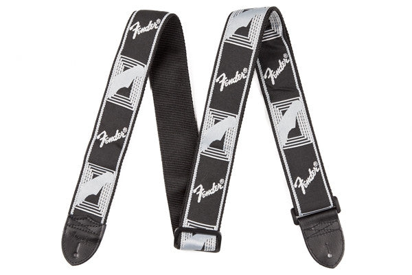 "Fender® 2"" Monogrammed Strap, Black/Light Grey/Dark Grey"