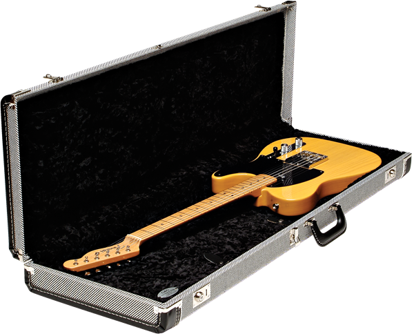 Fender G&G Deluxe Strat®/Tele® Hard Case Black Tweed with Black Plush