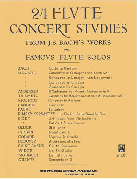 24 Flute Concert Studies From J. S. Bach's Works and Famous Flute Solos