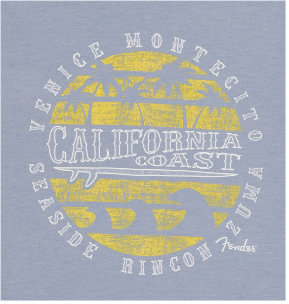 Fender® Cali Coastal Yellow Waves Men's Tee, Blue